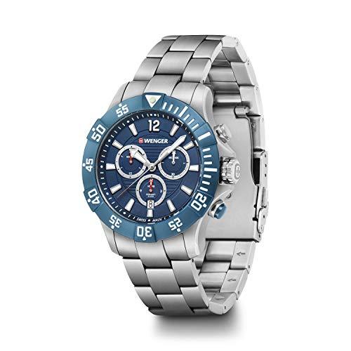 Wenger, Seaforce Chrono 43mm, Esfera Azul, Reloj de Pulsera de Acero Inoxidable para Hombres