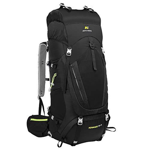 N NEVO RHINO Hiking Backpack, 80L Waterproof Camping Backpacking Daypack (Black)