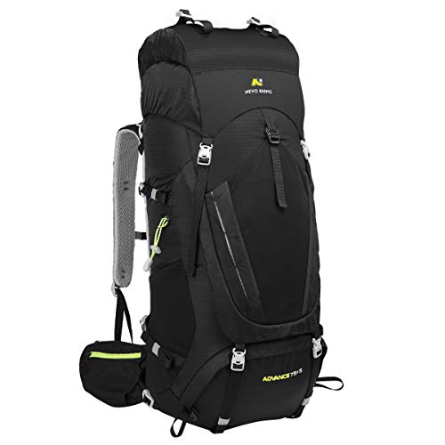 N NEVO RHINO Hiking Backpack, 80L Camping Backpack Outdoor Sport Travel Backpacking Daypack for Women, Men, Youth ( Black )