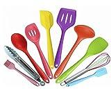 Juego de utensilios de cocina de silicona antiadherentes de color de 10 piezas, juego de utensilios de cocina de silicona respetuosos con el medio ambiente Multicolor
