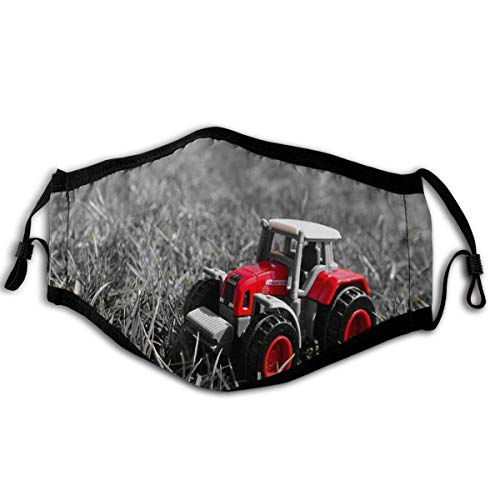 Small red Toy Tractor on Grass Anti Dust Face Mouth Mask Fashion Mask Dust Mask Reusable Unisex for Cycling Camping Travel
