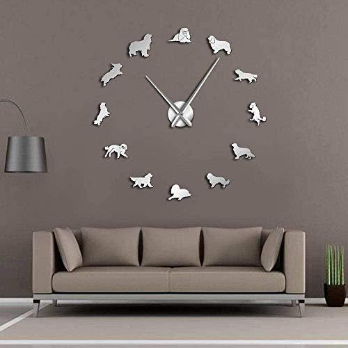 Reloj de pared 3D con decoración de calcomanías Cavalier King Charles Spaniel, reloj de pared mudo preciso y fácil de colgar en la pared, adecuado para el hogar / oficina / hotel_silver-37 pulgadas