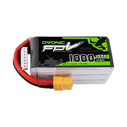 Ovonic 1000mAh 6S 100C LiPo Battery with XT60 Plug for FPV Racing RC Quadcopter Helicopter Airplane Multi-Motor Hobby DIY
