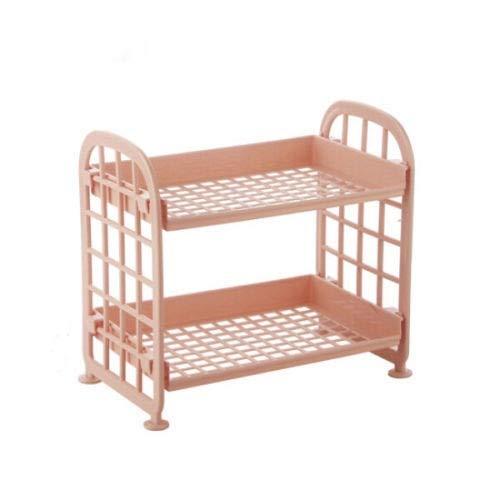 Meijin Estantería de plástico de 2 niveles para baño de ducha, caramelos, estante de cocina (color: A)