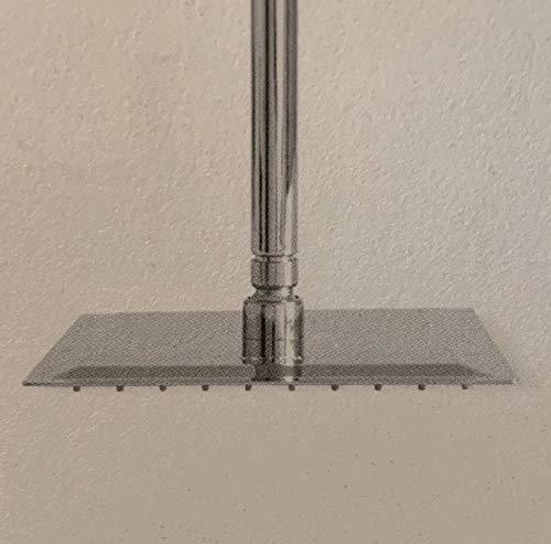Soffione Super Slim Quadrato Acciaio Inox Braccio A Soffitto Varie Dimensioni CERAMICHEMIRANDA-20x20