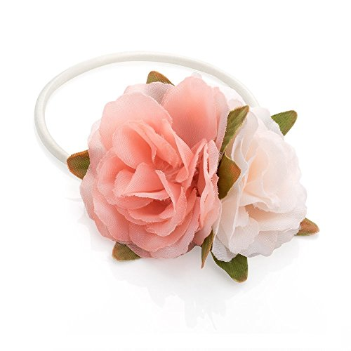 Pink and Beige Tone Double Rose Flower Hair Band Elastic Ponytail Bobble by Pritties Accessories