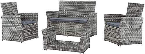 4 plazas jardín de ratán sofá sillón de muebles en combinación con mesa de café de efecto invernadero de mimbre,Rattan