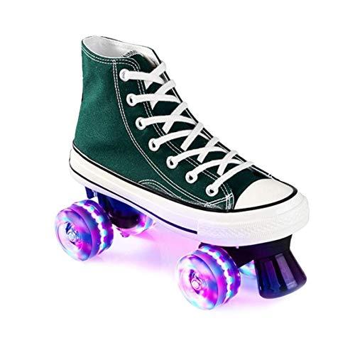 ZXSZX Zapatos para Damas Y Caballeros, Adultos Cómodos LED Rollerskates Quad Patinaje Al Aire Libre para Niñas Y Niños, Grün-40