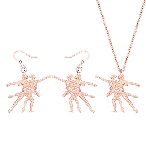 ZWwei Alloy Plated Gold Ballet Dancer Jewelry Sets Long Mental Earrings Necklace For Lady Girls Trendy Gift Decoration (Color : C)