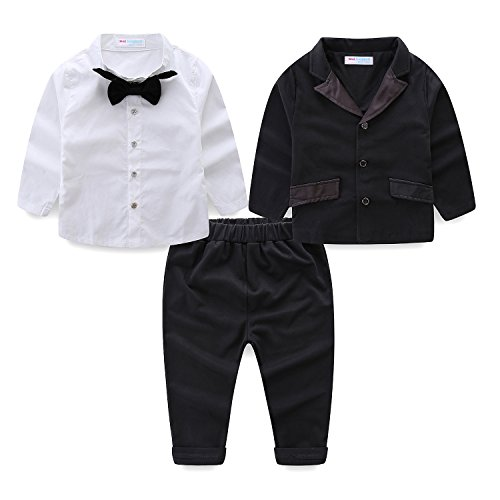 Mud Kingdom Toddler Boy Dress Outfit 3T Black Blazer, Pants and Shirt