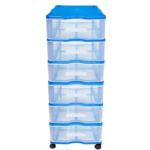 Acan Cajonera Wagon 6 cajones con Ruedas en Color Azul 102 x 38 x 39 cm