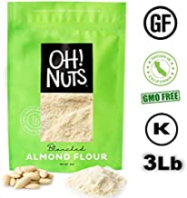 3LB Almond Flour Blanched All Natural, Flour alternatives, Extra Fine Ground Almond Meal - Oh! Nuts (3 LB Bag Blanched Almond Flour)