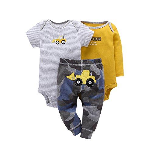 Baby Boys Girls Bodysuits Romper Tops+Pants 3pcs Outfits Set 6-18 Months chuy...  来自 @amazon
