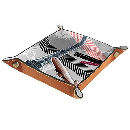 Caja de almacenamiento pequeña, bandeja de valet para hombre,Torre Eiffel,Organizador de cuero para llaves de caja de monedas