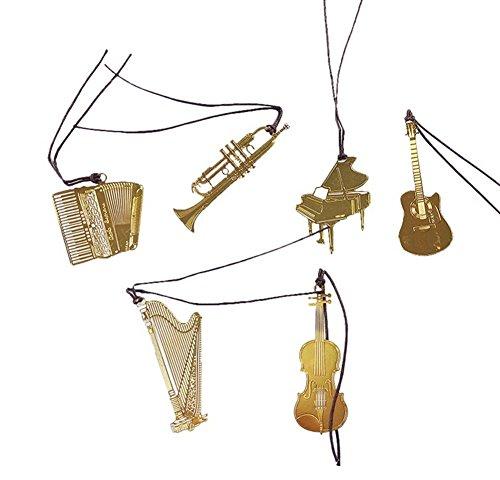 Spaufu 6x segnalibri novità cavo strumenti musicali forma metallo segnalibri delicate targhette per libri creativi regali di compleanno vacanza
