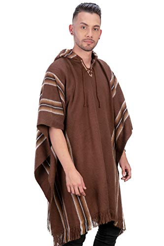 Intialpaca Alpaca Hooded Poncho voor mannen en vrouwen- bruine strepen
