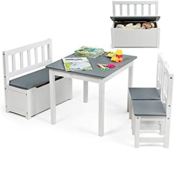 Costzon Kids Table and Chair Set Wood Activity Table with Toy Storage Bench & 2 Chairs for Children Reading Arts Crafts Snack Time Homework Playroom Toddler Table and Chair Set  Grey