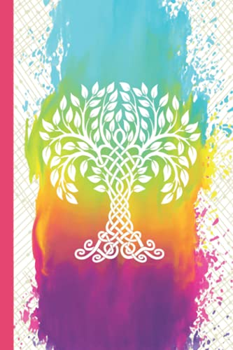 Tree of Life Journal: Rainbow Color Viking/Celtic Knot Tree Journal   Medium Ruled Blank Lined Notebook