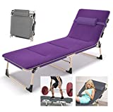 XJBHD Lounger Zero Gravity Chair with Removable Breathable Cushion, Folding Portable Breathable <span class='highlight'><span class='highlight'>Sunloungers</span></span> Chairs Adjustable Backrest Beach Garden Outdoor Patio Sun Lounger Recliner Purple