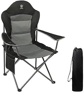 EVER ADVANCED Chaise Pliante Camping Portable Légère Dossier Haut avec Porte-gobelet et Sac de Transport de Jardin Pêche 55,9x55,9x109,2cm (Noir)