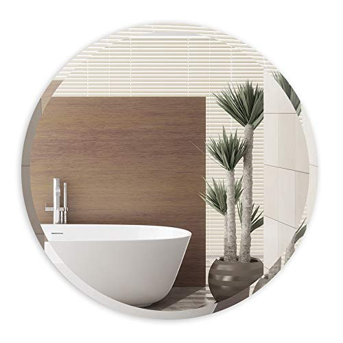 ANYHI Espejo de Pared Redondo sin Marco Biselado, Espejo Circular de 45,7 cm para Baño, Entrada, Sala de Estar