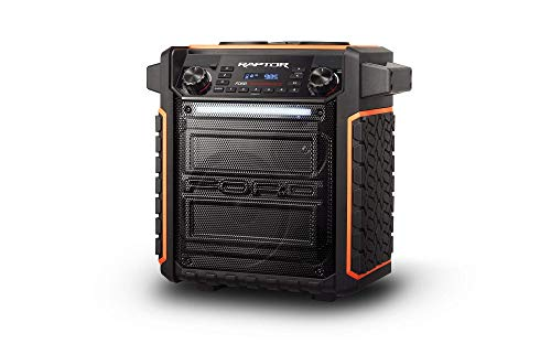 ION Audio Raptor | Ultra-Portable 100-Watt Wireless Water-Resistant Speaker with 75-Hour Rechargeable Battery, Bluetooth Streaming, AM/FM Radio and Multi-Color Light Bar (Renewed)