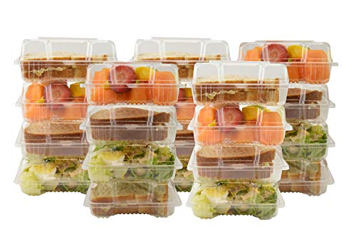 GJTr clear plastic square hinged food container bakery take-out to go boxes take out sandwich, salad, small deli and cake containers with lids for favors 6.09 in x 5.9 in x 2.49 in (25)