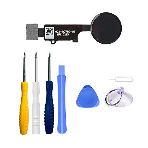 LTZGO Home Button für iPhone 7/8 /7 Plus /8 Plus Schwarz Hauptknopf mit Flexkabel Taste inkl. Metal Bracket und die Schutz Armatur Gummidichtung Reparatur Tool Kit Werkzeugset