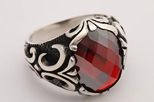 Turkish Special Design! New Collection Handmade Jewelry Oval Shape Ruby 925 Sterling Silver Embroidered Men's All Ring Size Option