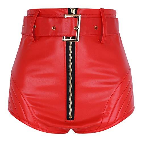 MSemis Pantalones Cortos Sexy Push Up para Mujer Pantalones de Cuero Corte Alto Mini Pantalon Cintura Alta Hot Shorts Dance Traje Pole Cinturón Extraíble Rojo X-Small
