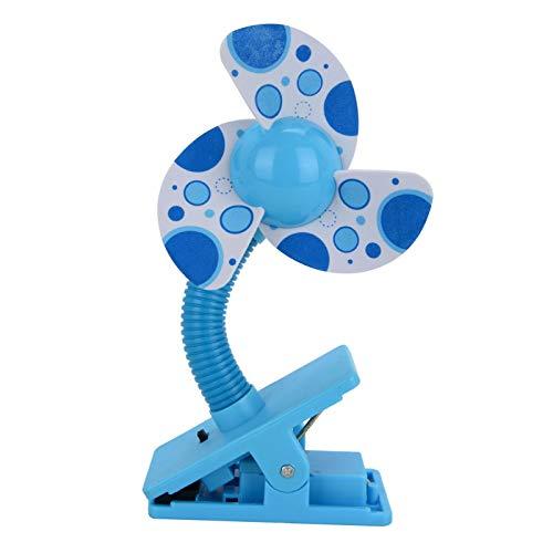 ColdShine Stroller Fan Portable Safety Clip-On USB Mini Fans 11cm x 5.5cm x 22.5cm Spin Desktop Fixed Fan For Buggy Baby Pram Stroller Cots (blue)