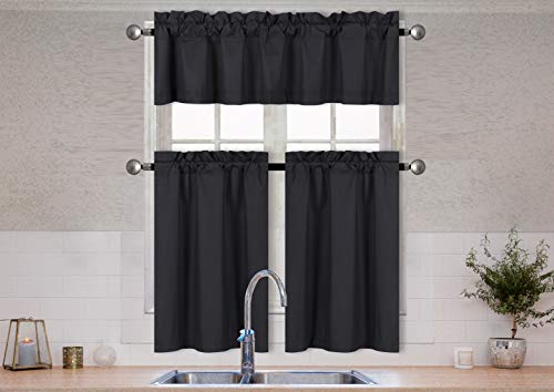 Better Home Style 3 Piece Solid Color 100% Blackout Kitchen Window Curtain Set with Tiers and Valance Solid Energy Efficient Thermal Room Darkening Drape Window Treatment # MKC  (Orange)