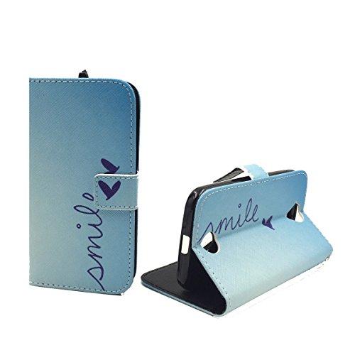 König Design Handyhülle Kompatibel mit Acer Liquid Z330 Handytasche Schutzhülle Tasche Flip Hülle mit Kreditkartenfächern - Smile Blau