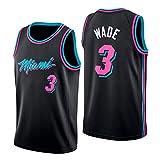 WOLFIRE WF Camiseta de Baloncesto para Hombre, NBA, Miami Heat #3 Dwyane Wade. Bordado, Transpirable y Resistente al Desgaste Camiseta para Fan (Negra, S)
