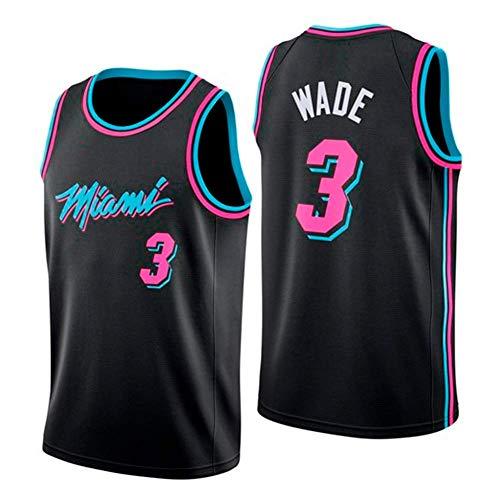 WOLFIRE WF Camiseta de Baloncesto para Hombre, NBA, Miami Heat #3 Dwyane Wade. Bordado, Transpirable y Resistente al Desgaste Camiseta para Fan (Negra, XXL)