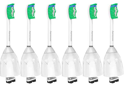 Replacement Toothbrush Heads for Philips Sonicare E-Series HX7022/66, 6pack, Fit Sonicare Essence, Xtreme, Elite, Advance, and CleanCare Electric Toothbrush with Hygienic Cap by Aoremon