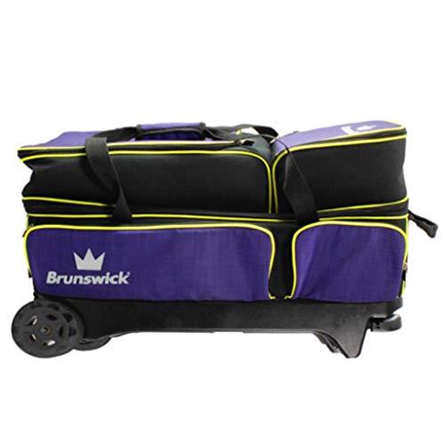 Brunswick Crown Deluxe Bowlingtasche mit DREI Rollen, Violett/Gelb