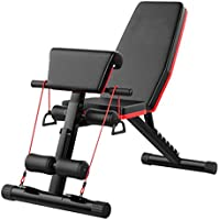 Aimik Adjustable Foldable Workout Bench with Resistance Bands for Home Gym (Black)