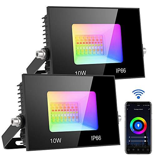 Olafus 2x10W Faretto LED RGB Smart WiFi, Flood Light LED RGB Intelligente 1200LM Funzione con Alexa e Google, Controllo da APP Luce Dimmerabile, IP66 Impermeabile, Faro LED 16 Milioni di Colori Festa
