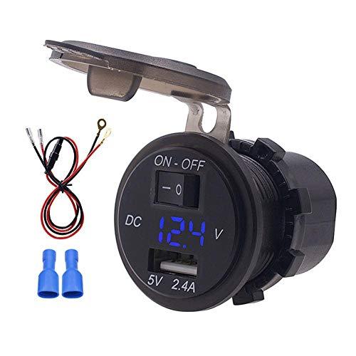 EBTOOLS Motorrad Voltmeter, 12V IP66 2.4A LED USB Digital Telefon Ladegerät Unabhängiger Schalter Adapter mit 23,6-Zoll-Kfz-Ersatzvoltmeter Anzeigen USB Digital Voltmeter(Blau)