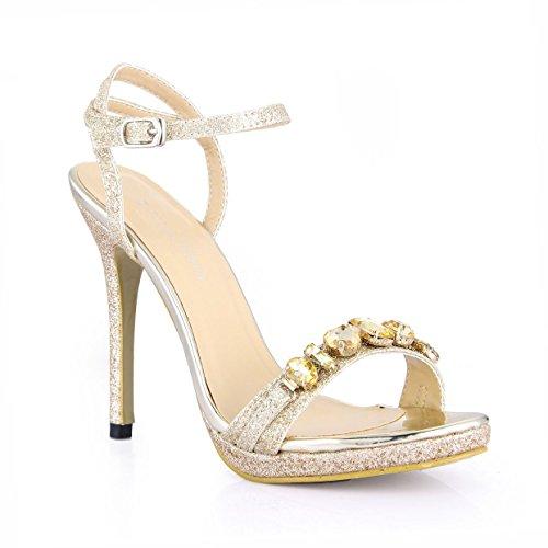 China tij vrouwelijke sandalen nieuwe jaarlijkse fijne hoge hak schoenen mooi gouden zand water boren diner vrouwen schoenen