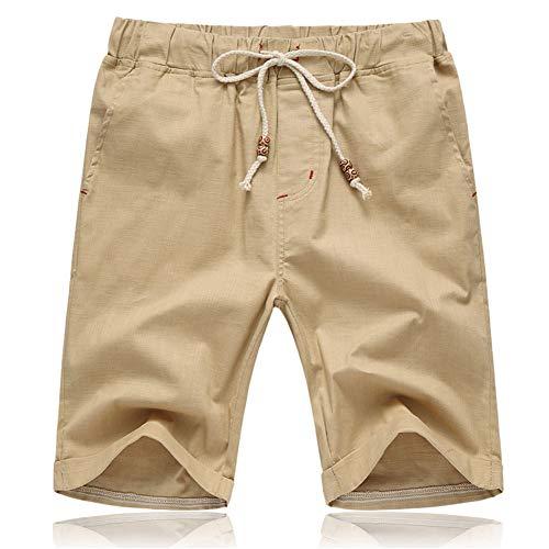 JustSun Mens Shorts Summer Casual Smart Shorts Elasticated Waist with Pockets Khaki Medium