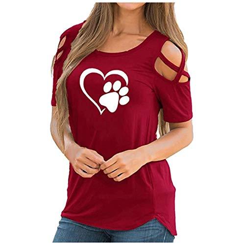 WOCACHI 2021 Blusas para mujer, diseño de pata de gato de verano con estampado lindo tops de manga corta camisetas blusa casual suelta, 1217- Rojo Vino, XXL