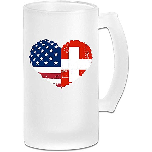 Taza de cerveza Stein de vidrio esmerilado con bandera de Suiza, EE. UU. - Taza de pub personalizada personalizada - Regalo para su bebedor de cerveza favorito