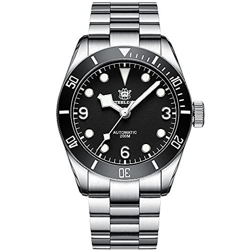 Steeldive Reloj de pulsera automático para hombre 1958, color negro, con correa de acero inoxidable, cristal de zafiro, bisel de cerámica.