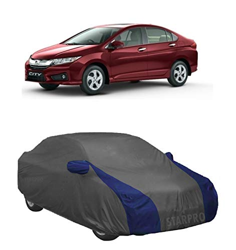 NEXTON Presents Semi-Waterproof Heavy Duty Car Body Cover Compatible with Honda City i-VTEC All Variants_Grey & Blue Color with Mirror