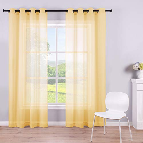 Yellow Sheer Curtains 84 Inches Long for Living Room Set of 2 Grommet Faux Linen Soft Semi Transparent Voile Drape Window Sheer Curtains for Bedroom Boys 52x84 Length Solid Pair Bright Color