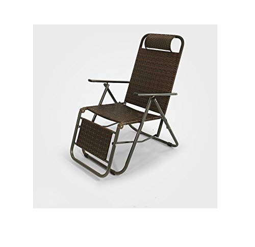Yanxinenjoy Rotan zomerstoel liggend opvouwbare lunchpauze rieten stoel dutje vissen duurzaam Zwart