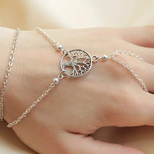 Silver Celtic Slave Bracelet Handmade Tree of Life Jewelry for Women Finger Ring Adjustable Bracelet Bridal Hand Harness Handchain Rosary Dainty Body Jewelry