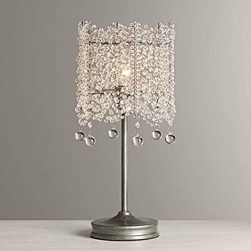 Lámpara de mesa francesa K9 de cristal para dormitorio, lámpara de noche de princesa, decoración de habitación, luz de noche, lámpara de mesa pequeña para niños, 14 x 31 cm (color latón)